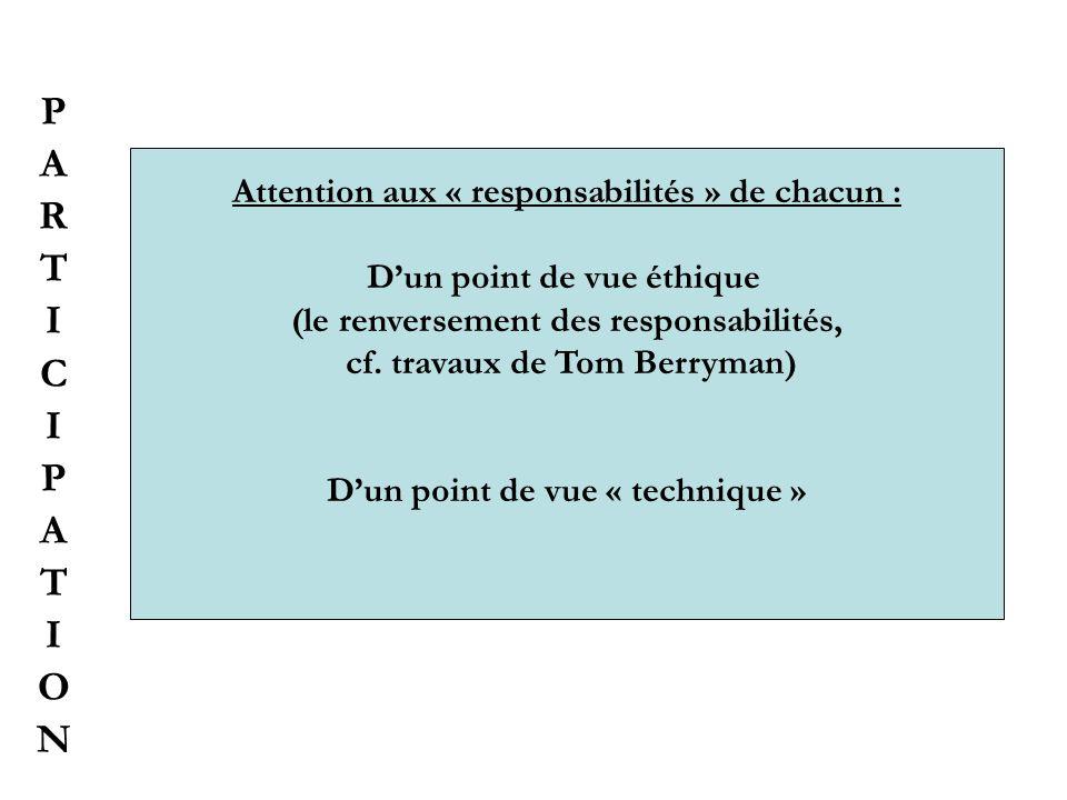 PARTICIPATIONPARTICIPATION Attention aux « responsabilités » de chacun : Dun point de vue éthique (le renversement des responsabilités, cf. travaux de