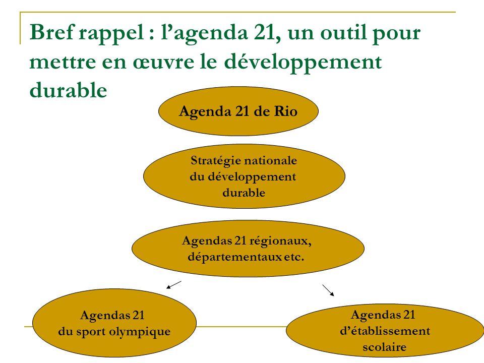 Agenda 21 de Rio Stratégie nationale du développement durable Agendas 21 régionaux, départementaux etc. Agendas 21 détablissement scolaire Agendas 21
