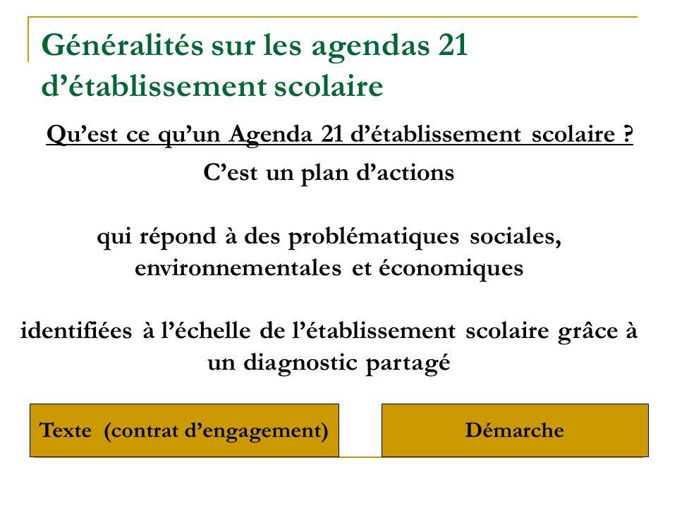 Quest ce quun Agenda 21 détablissement scolaire ? Cest un plan dactions qui répond à des problématiques sociales, environnementales et économiques ide