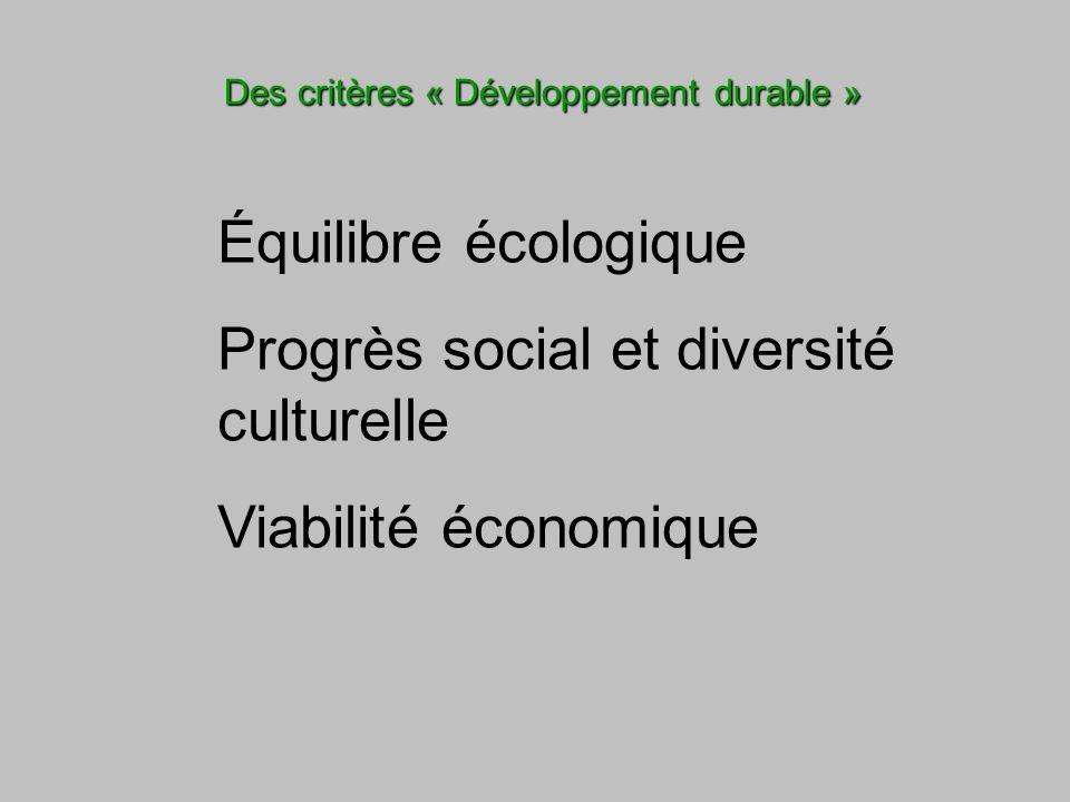 Des critères « Développement durable » Équilibre écologique Progrès social et diversité culturelle Viabilité économique