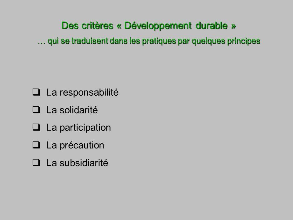 Des critères « Développement durable » … qui se traduisent dans les pratiques par quelques principes La responsabilité La solidarité La participation La précaution La subsidiarité