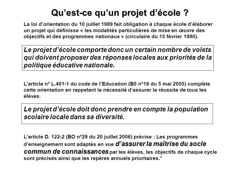 Dans chaque école publique, un projet décole est élaboré avec les représentants de la communauté éducative.