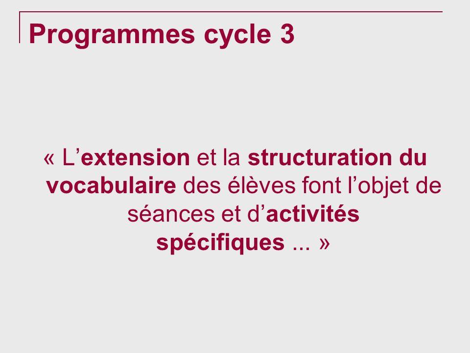 Programmes cycle 3 « Lextension et la structuration du vocabulaire des élèves font lobjet de séances et dactivités spécifiques... »