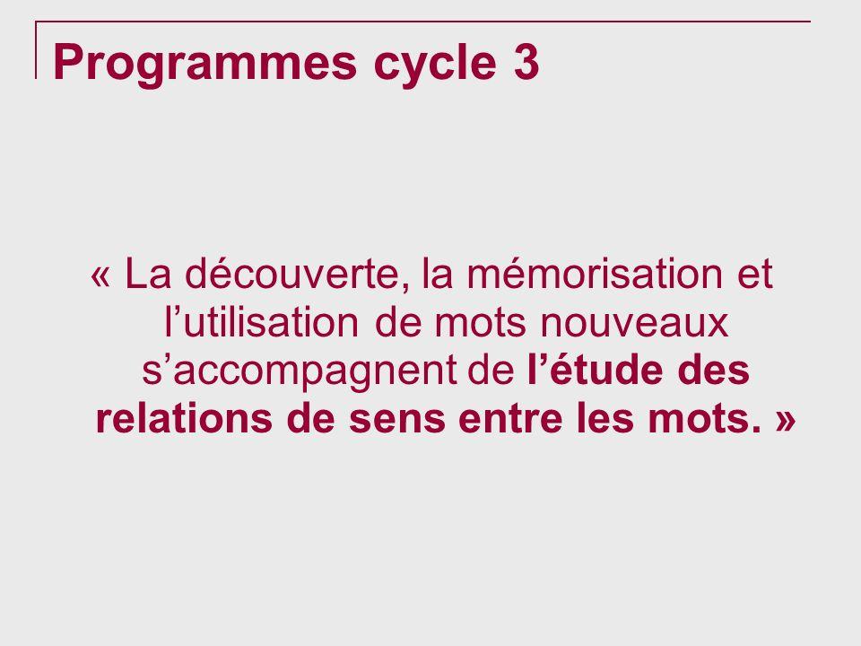 Programmes cycle 3 « La découverte, la mémorisation et lutilisation de mots nouveaux saccompagnent de létude des relations de sens entre les mots. »