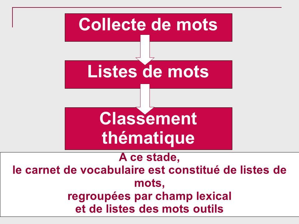 Collecte de mots Listes de mots Classement thématique A ce stade, le carnet de vocabulaire est constitué de listes de mots, regroupées par champ lexic