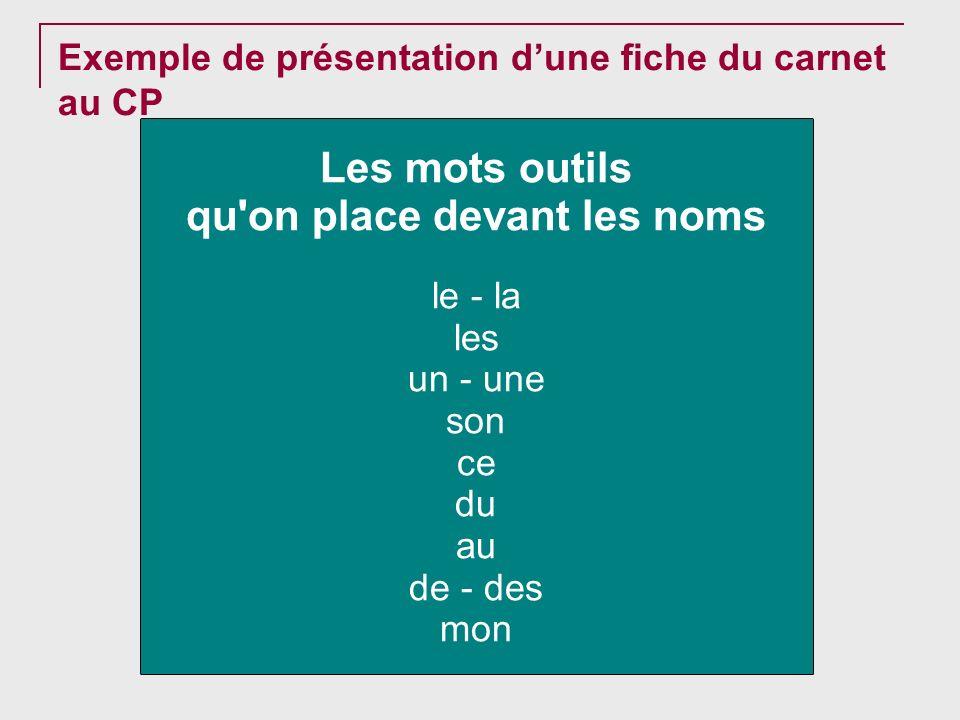 Exemple de présentation dune fiche du carnet au CP Les mots outils qu'on place devant les noms le - la les un - une son ce du au de - des mon