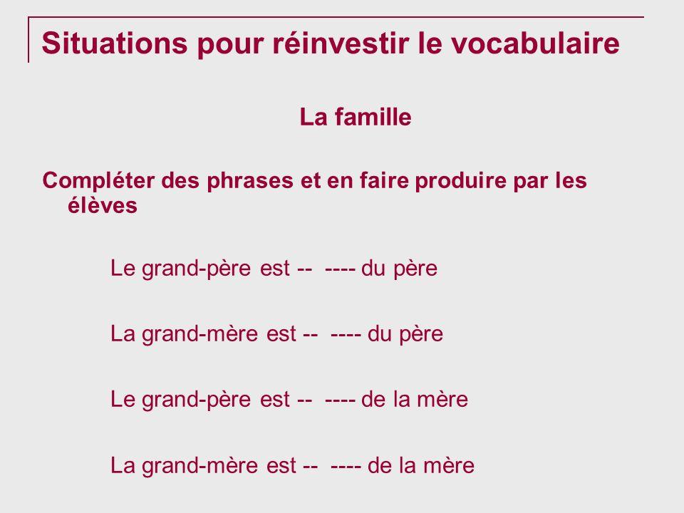 Situations pour réinvestir le vocabulaire La famille Compléter des phrases et en faire produire par les élèves Le grand-père est -- ---- du père La gr