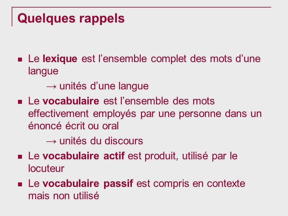 Quelques rappels Le lexique est lensemble complet des mots dune langue unités dune langue Le vocabulaire est lensemble des mots effectivement employés