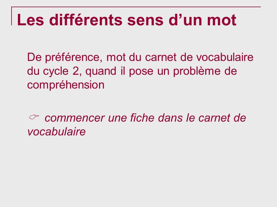 Les différents sens dun mot De préférence, mot du carnet de vocabulaire du cycle 2, quand il pose un problème de compréhension commencer une fiche dan