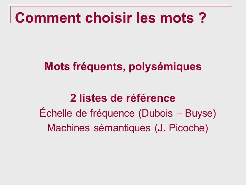Comment choisir les mots ? Mots fréquents, polysémiques 2 listes de référence Échelle de fréquence (Dubois – Buyse) Machines sémantiques (J. Picoche)