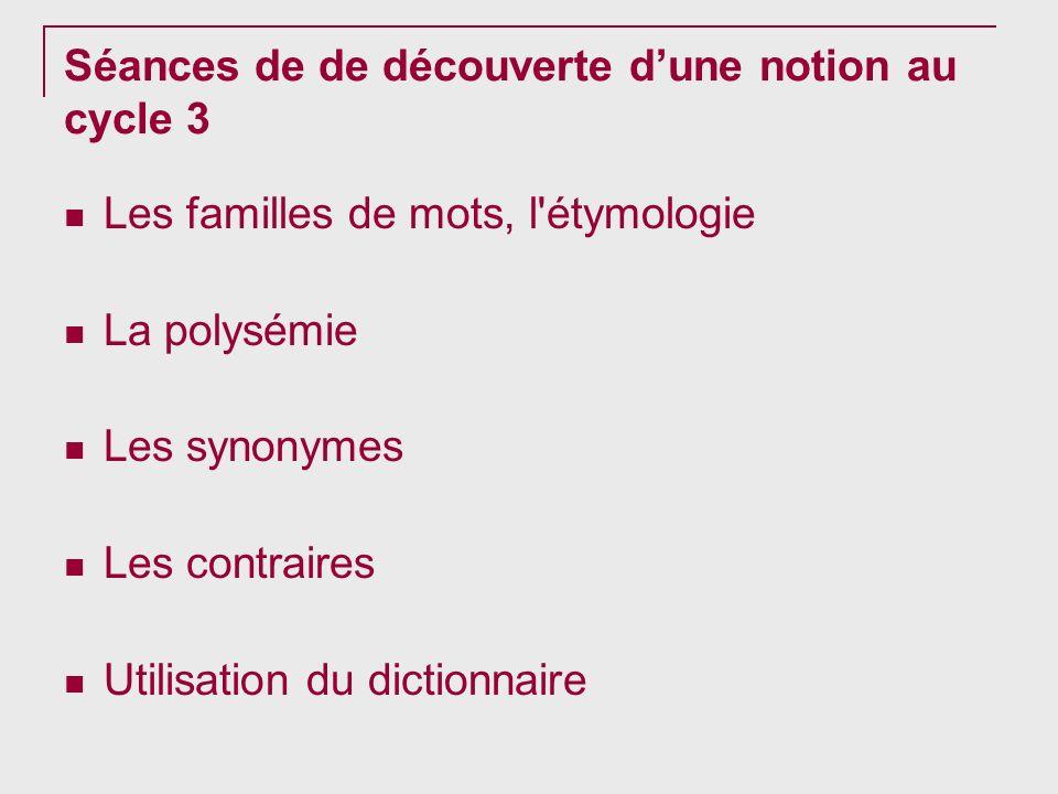 Séances de de découverte dune notion au cycle 3 Les familles de mots, l'étymologie La polysémie Les synonymes Les contraires Utilisation du dictionnai