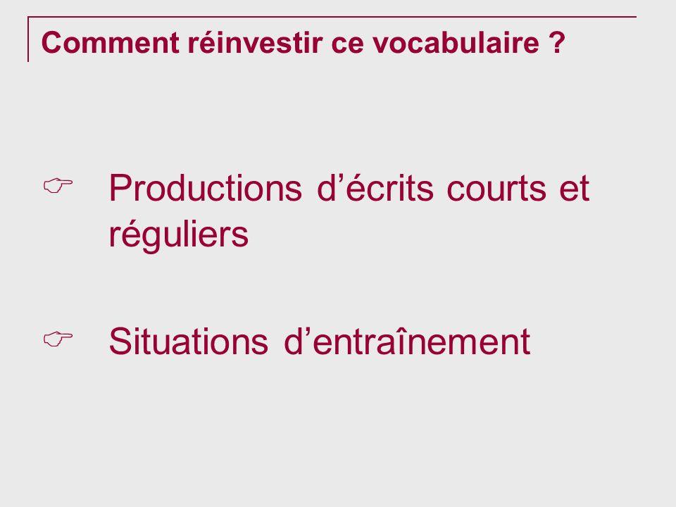Comment réinvestir ce vocabulaire ? Productions décrits courts et réguliers Situations dentraînement