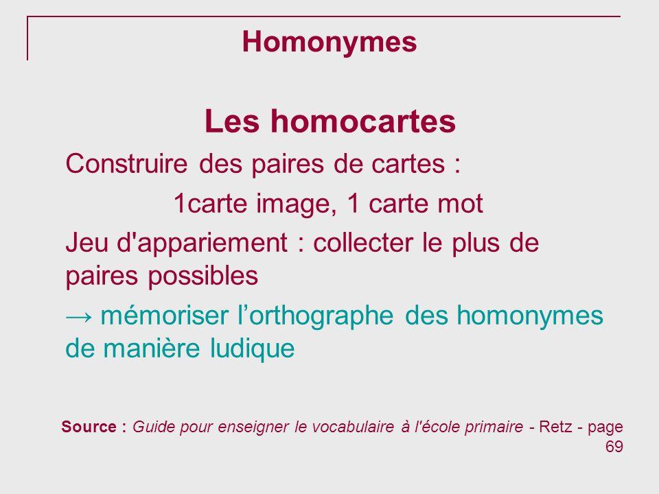 Homonymes Les homocartes Construire des paires de cartes : 1carte image, 1 carte mot Jeu d'appariement : collecter le plus de paires possibles mémoris