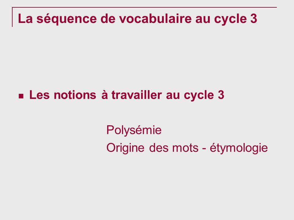 La séquence de vocabulaire au cycle 3 Les notions à travailler au cycle 3 Polysémie Origine des mots - étymologie