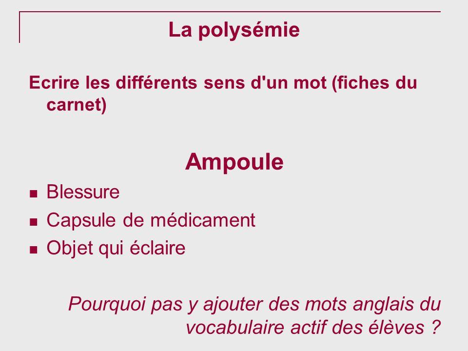 La polysémie Ecrire les différents sens d'un mot (fiches du carnet) Ampoule Blessure Capsule de médicament Objet qui éclaire Pourquoi pas y ajouter de