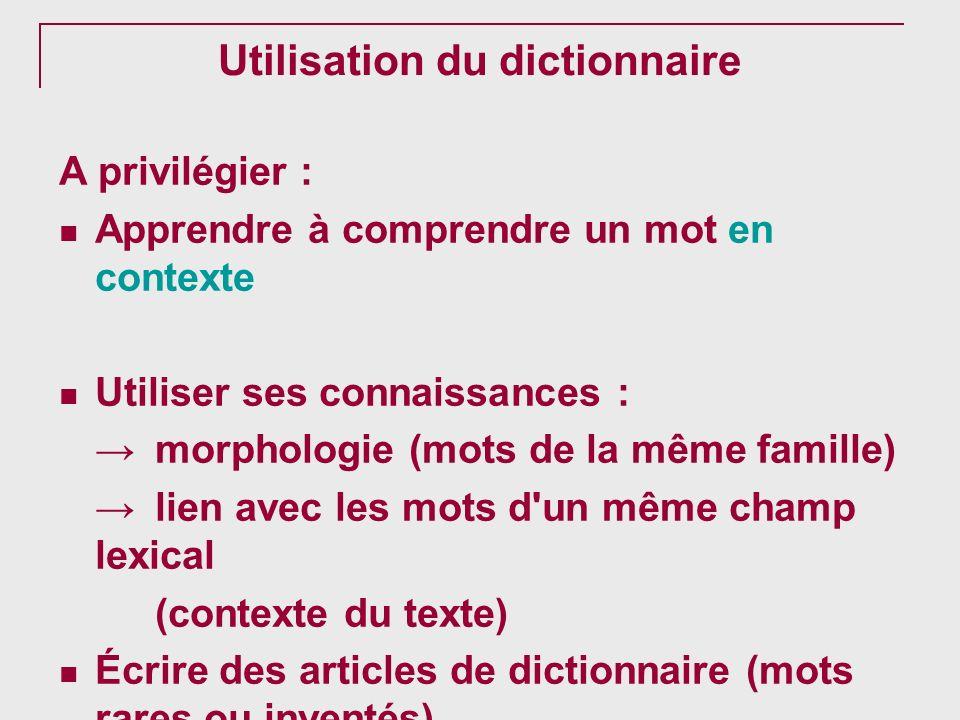 Utilisation du dictionnaire A privilégier : Apprendre à comprendre un mot en contexte Utiliser ses connaissances : morphologie (mots de la même famill