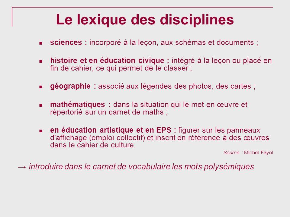 Le lexique des disciplines sciences : incorporé à la leçon, aux schémas et documents ; histoire et en éducation civique : intégré à la leçon ou placé