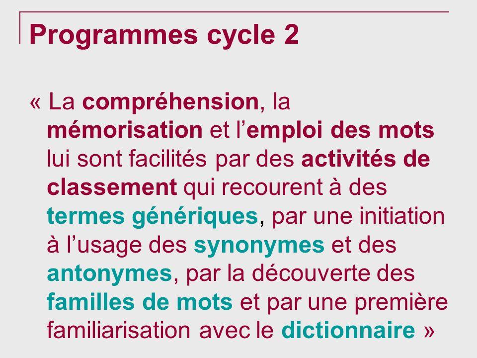 Programmes cycle 2 « La compréhension, la mémorisation et lemploi des mots lui sont facilités par des activités de classement qui recourent à des term