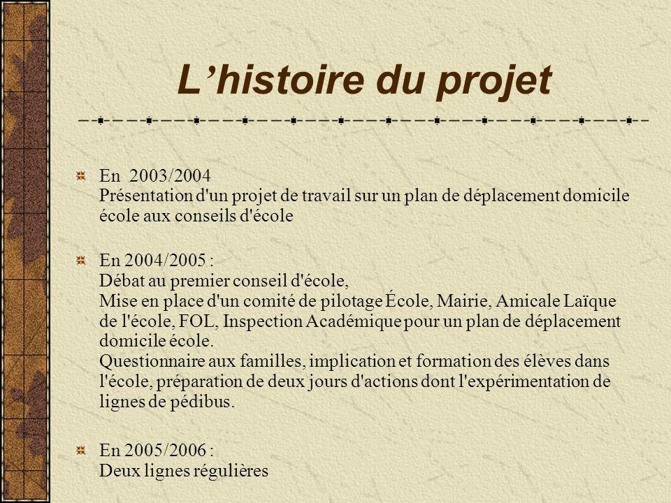 L histoire du projet En 2003/2004 Présentation d'un projet de travail sur un plan de déplacement domicile école aux conseils d'école En 2004/2005 : Dé