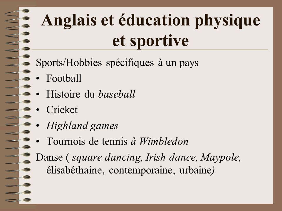Anglais et éducation physique et sportive Sports/Hobbies spécifiques à un pays Football Histoire du baseball Cricket Highland games Tournois de tennis