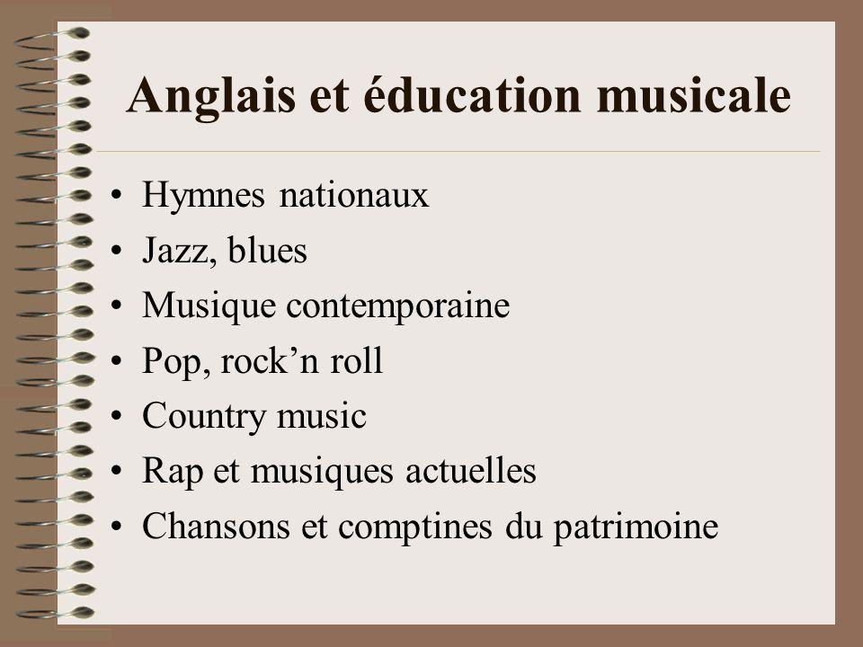 Anglais et éducation musicale Hymnes nationaux Jazz, blues Musique contemporaine Pop, rockn roll Country music Rap et musiques actuelles Chansons et c