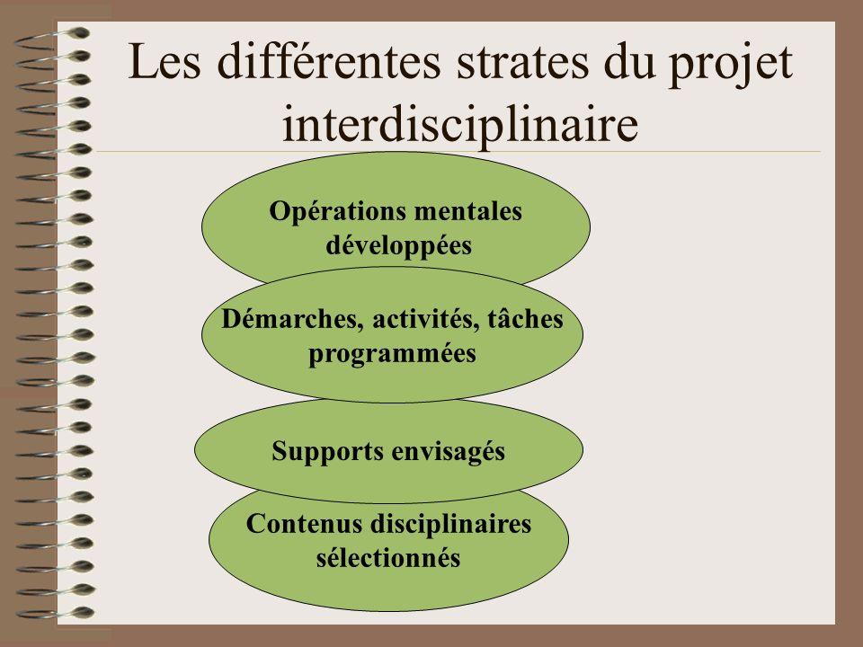Les différentes strates du projet interdisciplinaire Contenus disciplinaires sélectionnés Supports envisagés Opérations mentales développées Démarches