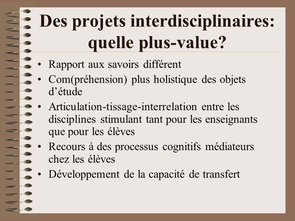 Des projets interdisciplinaires: quelle plus-value? Rapport aux savoirs différent Com(préhension) plus holistique des objets détude Articulation-tissa