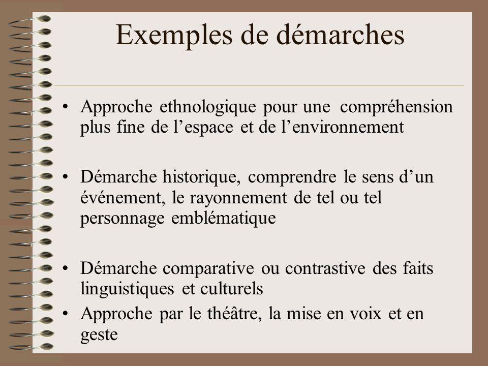 Exemples de démarches Approche ethnologique pour une compréhension plus fine de lespace et de lenvironnement Démarche historique, comprendre le sens d