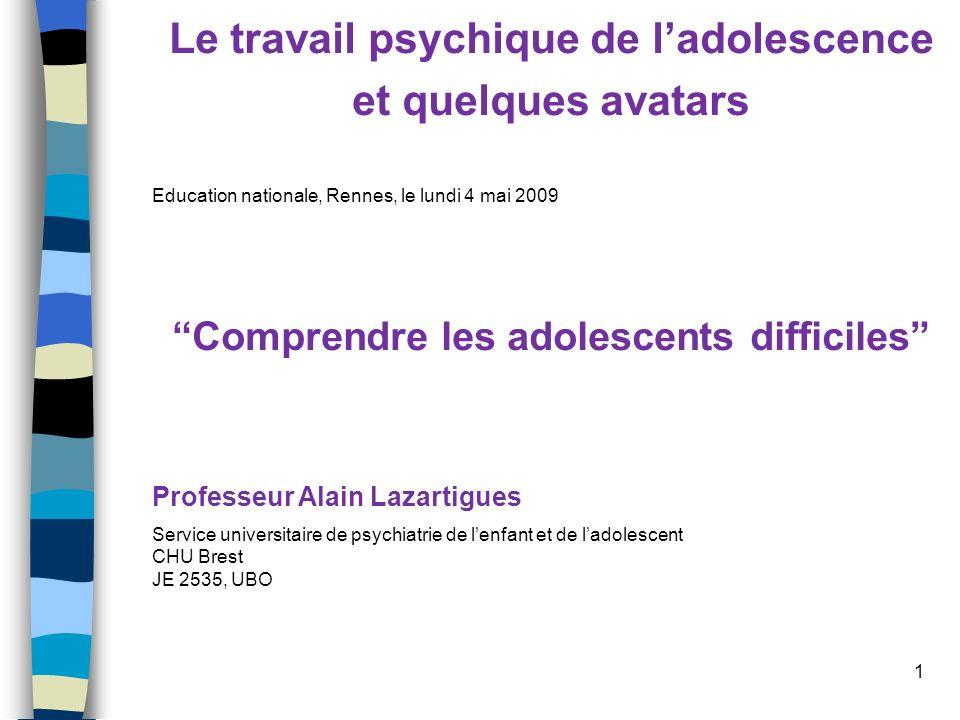 1 Le travail psychique de ladolescence et quelques avatars Education nationale, Rennes, le lundi 4 mai 2009 Comprendre les adolescents difficiles Prof