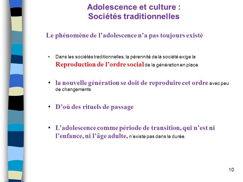 10 Adolescence et culture : Sociétés traditionnelles Le phénomène de ladolescence na pas toujours existé Dans les sociétés traditionnelles, la pérenni