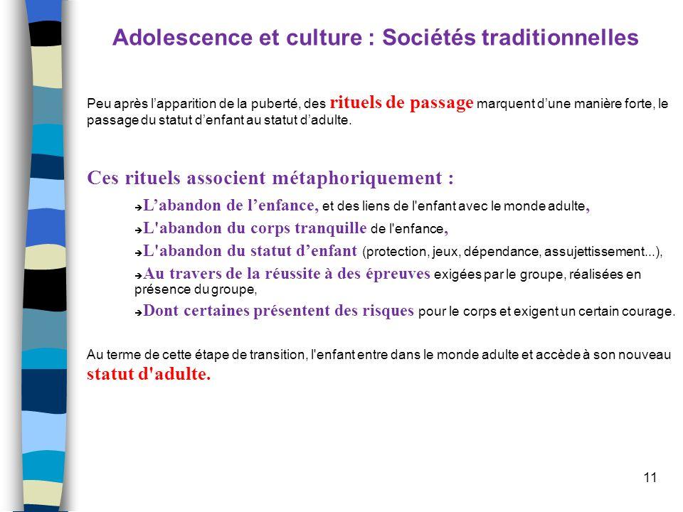 11 Adolescence et culture : Sociétés traditionnelles Peu après lapparition de la puberté, des rituels de passage marquent dune manière forte, le passa