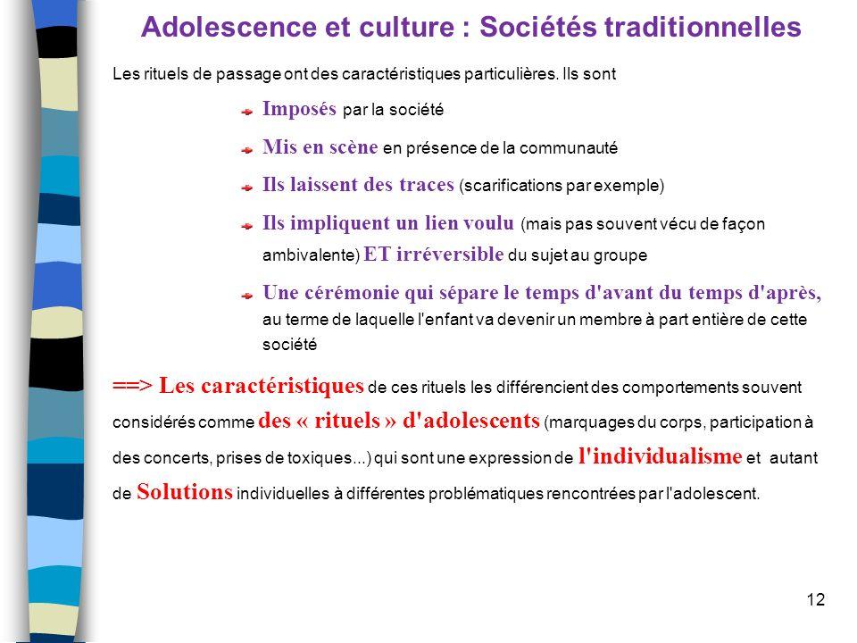12 Adolescence et culture : Sociétés traditionnelles Les rituels de passage ont des caractéristiques particulières. Ils sont Imposés par la société Mi