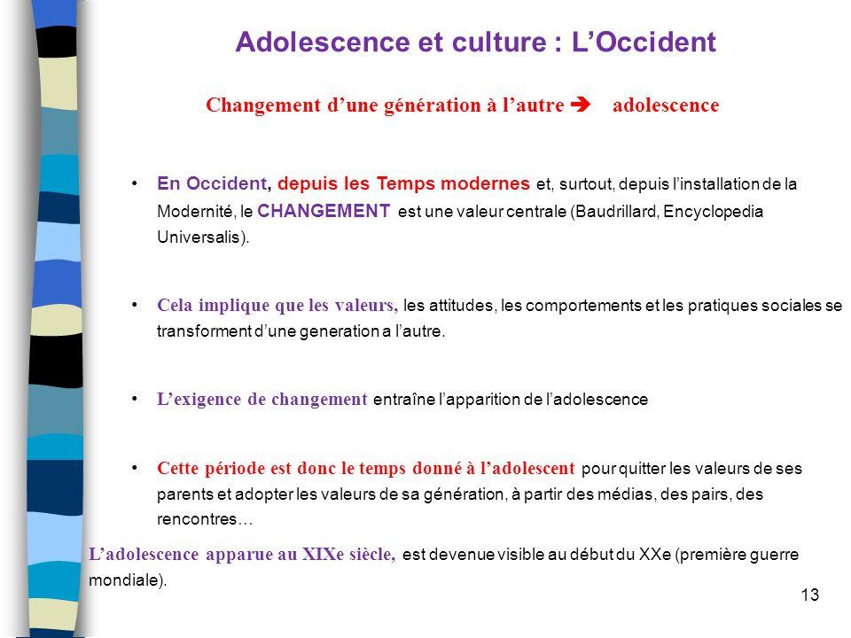 13 Adolescence et culture : LOccident Changement dune génération à lautre adolescence En Occident, depuis les Temps modernes et, surtout, depuis linst