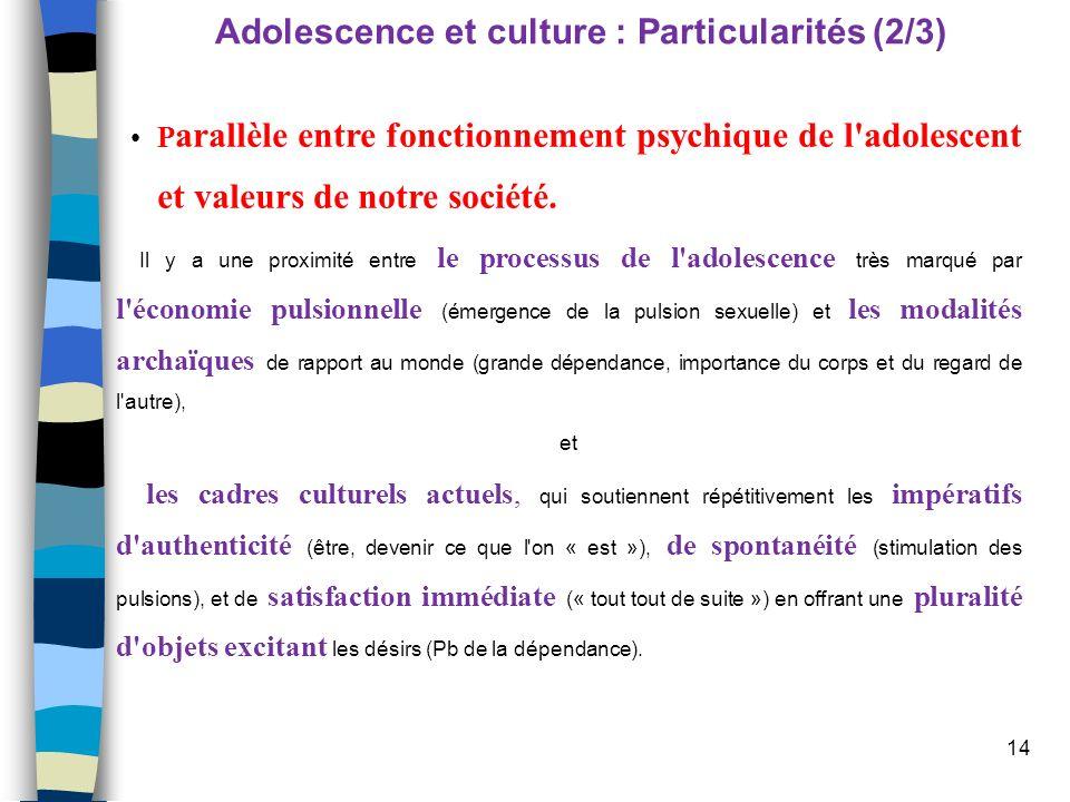 14 Adolescence et culture : Particularités (2/3) P arallèle entre fonctionnement psychique de l'adolescent et valeurs de notre société. Il y a une pro