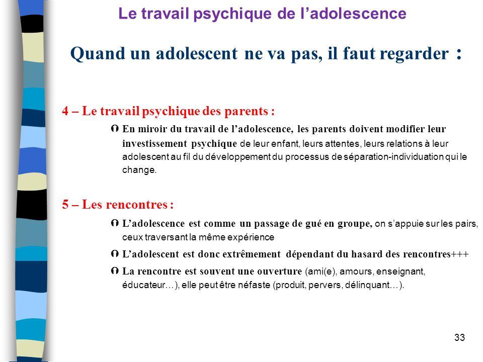 33 4 – Le travail psychique des parents : En miroir du travail de ladolescence, les parents doivent modifier leur investissement psychique de leur enf