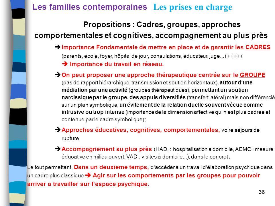 36 Les familles contemporaines Les prises en charge Propositions : Cadres, groupes, approches comportementales et cognitives, accompagnement au plus p