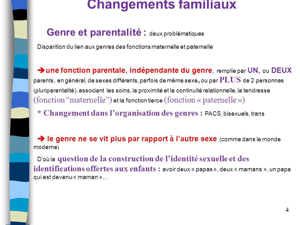 4 Changements familiaux Genre et parentalité : deux problématiques Disparition du lien aux genres des fonctions maternelle et paternelle une fonction