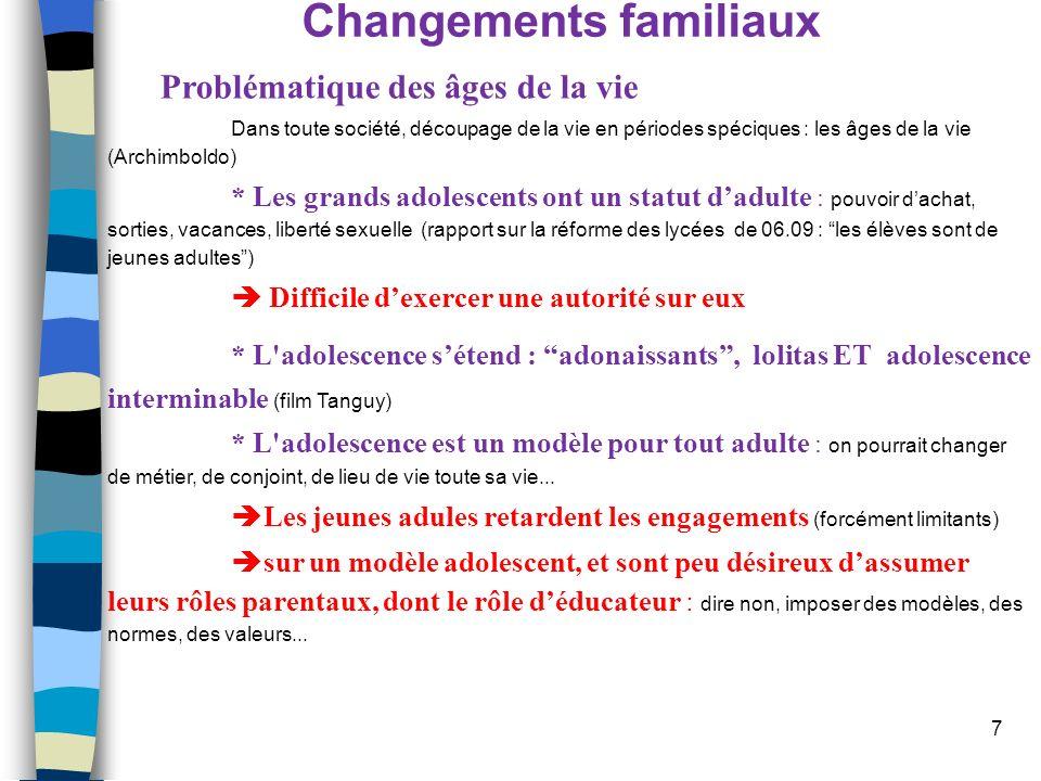 7 Changements familiaux Problématique des âges de la vie Dans toute société, découpage de la vie en périodes spéciques : les âges de la vie (Archimbol