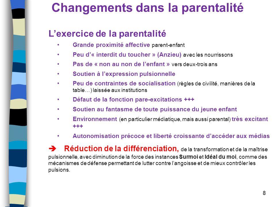 8 Changements dans la parentalité Lexercice de la parentalité Grande proximité affective parent-enfant Peu d« interdit du toucher » (Anzieu) avec les