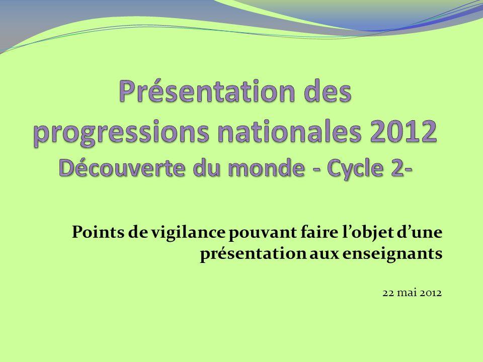 Points de vigilance pouvant faire lobjet dune présentation aux enseignants 22 mai 2012