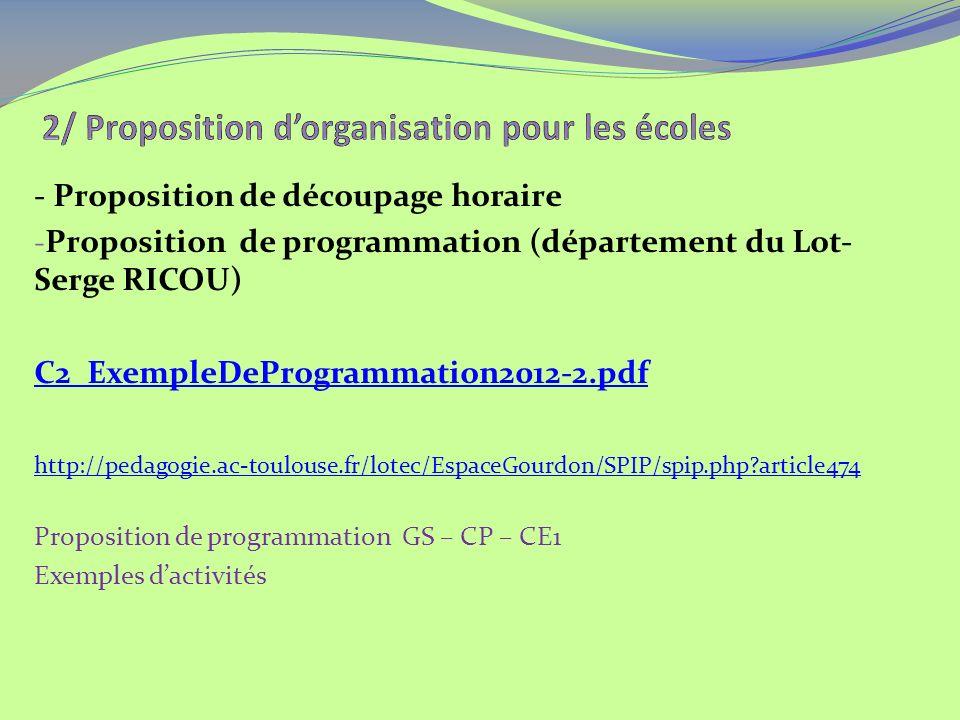 - Proposition de découpage horaire - Proposition de programmation (département du Lot- Serge RICOU) C2_ExempleDeProgrammation2012-2.pdf http://pedagogie.ac-toulouse.fr/lotec/EspaceGourdon/SPIP/spip.php article474 Proposition de programmation GS – CP – CE1 Exemples dactivités
