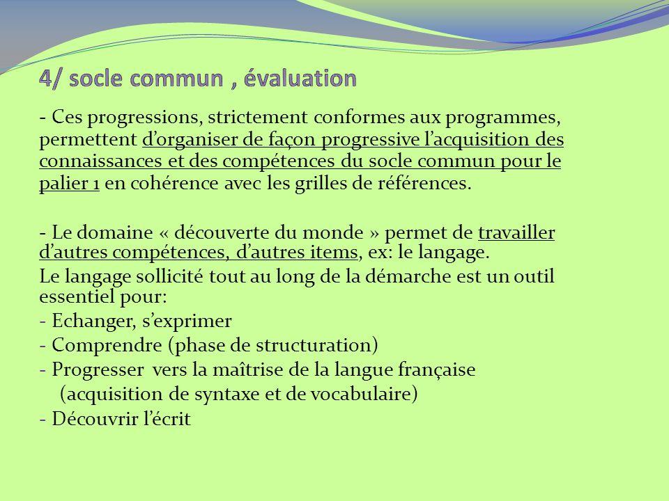 - Ces progressions, strictement conformes aux programmes, permettent dorganiser de façon progressive lacquisition des connaissances et des compétences du socle commun pour le palier 1 en cohérence avec les grilles de références.