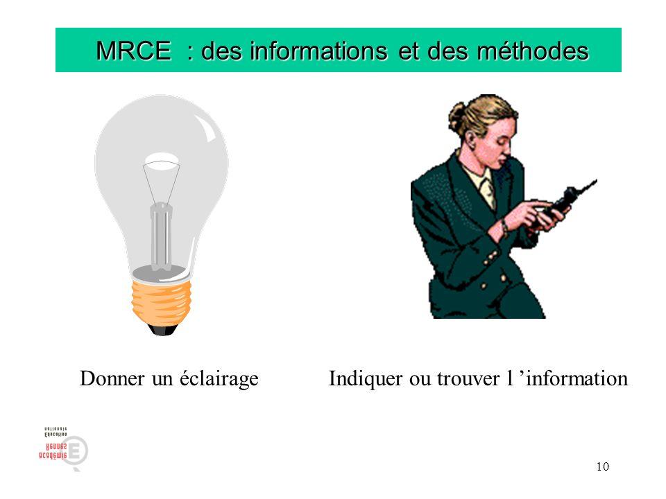 10 MRCE : des informations et des méthodes MRCE : des informations et des méthodes Donner un éclairageIndiquer ou trouver l information