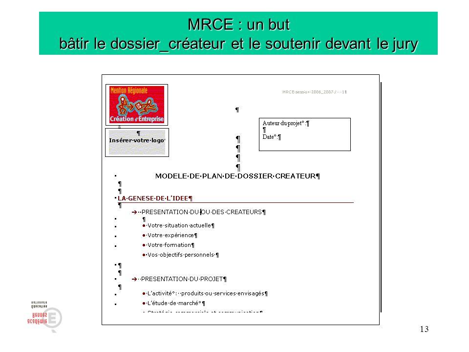 13 MRCE : un but bâtir le dossier_créateur et le soutenir devant le jury