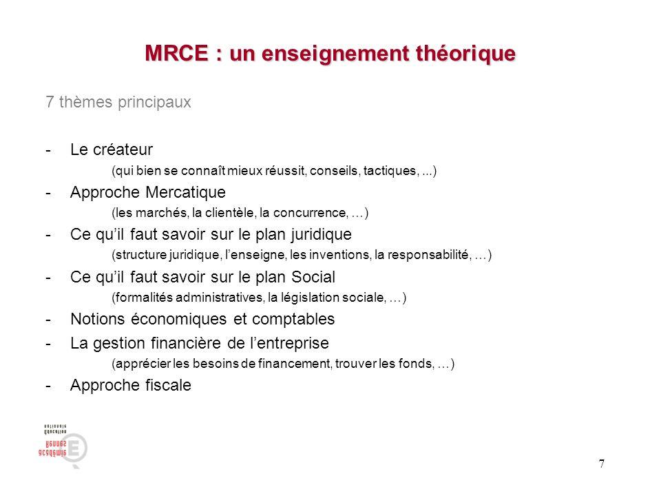 7 MRCE : un enseignement théorique 7 thèmes principaux -Le créateur (qui bien se connaît mieux réussit, conseils, tactiques,...) -Approche Mercatique