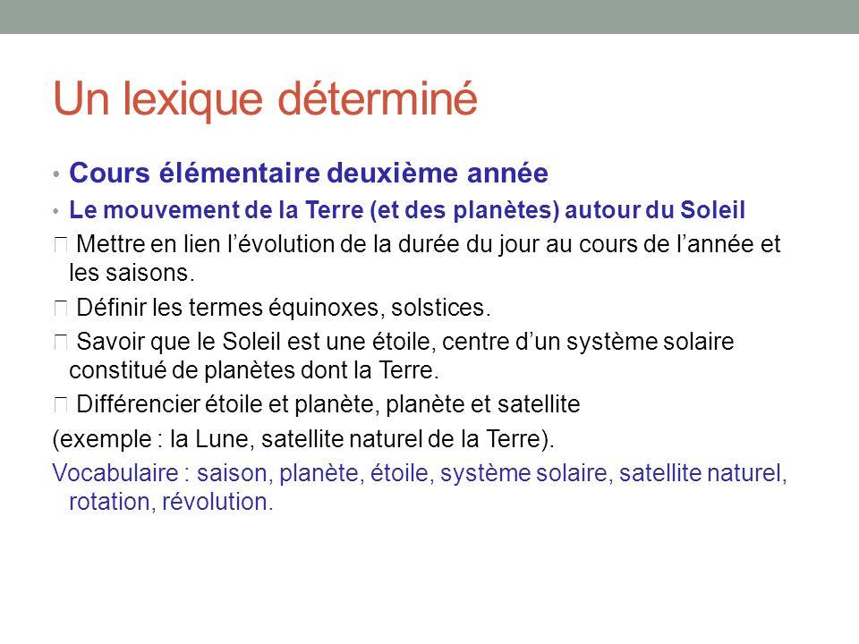 Un lexique déterminé Cours élémentaire deuxième année Le mouvement de la Terre (et des planètes) autour du Soleil Mettre en lien lévolution de la durée du jour au cours de lannée et les saisons.