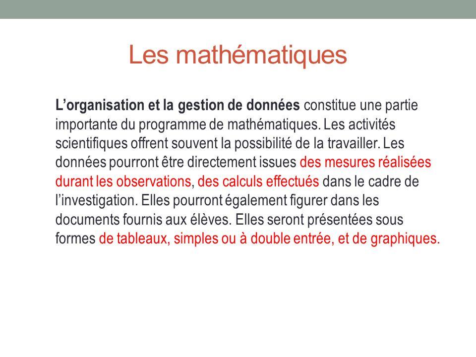 Les mathématiques Lorganisation et la gestion de données constitue une partie importante du programme de mathématiques. Les activités scientifiques of