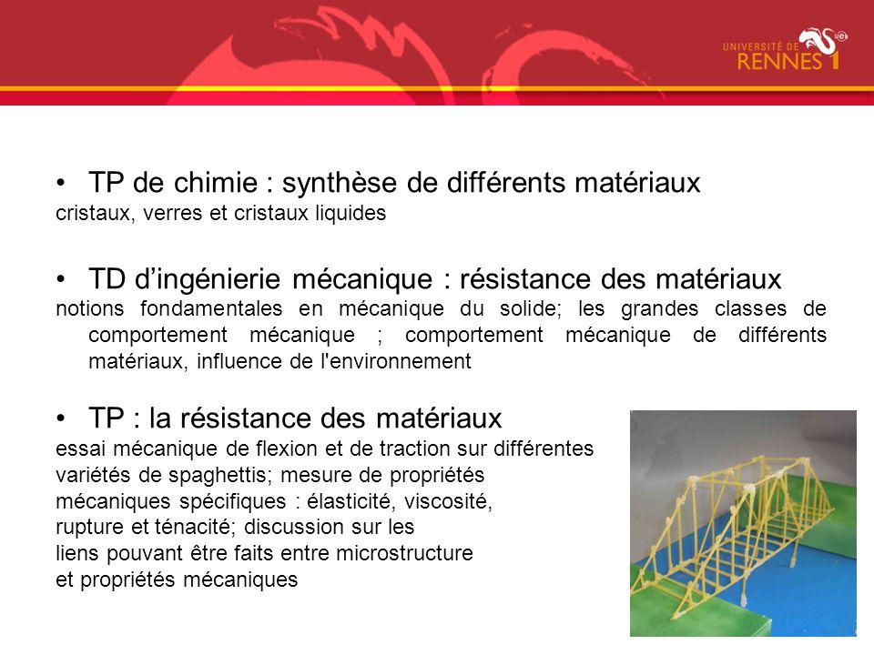 TP de chimie : synthèse de différents matériaux cristaux, verres et cristaux liquides TD dingénierie mécanique : résistance des matériaux notions fond