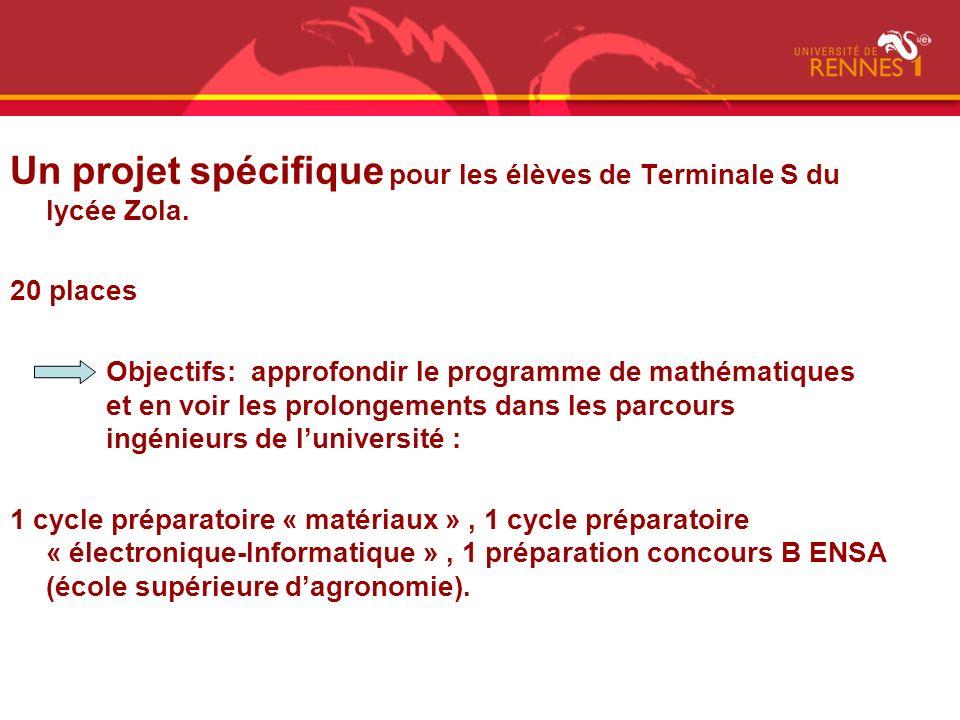 Un projet spécifique pour les élèves de Terminale S du lycée Zola. 20 places Objectifs: approfondir le programme de mathématiques et en voir les prolo