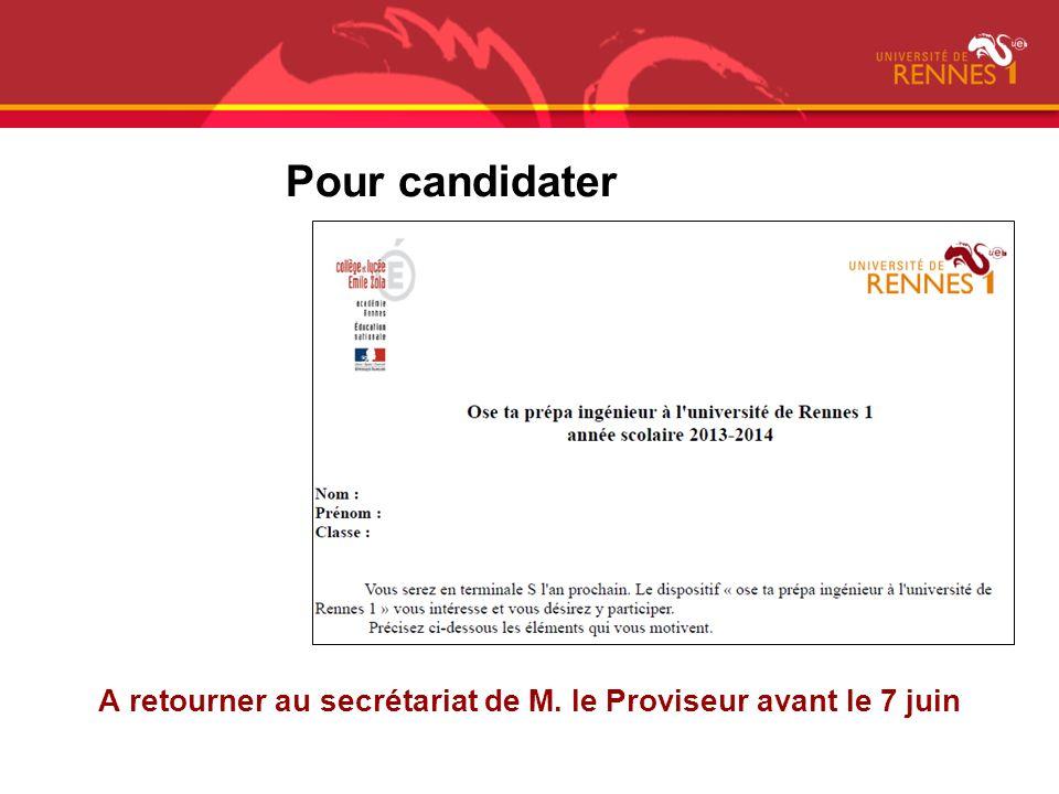 A retourner au secrétariat de M. le Proviseur avant le 7 juin Pour candidater